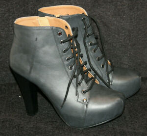 Charlotte Russe Platform Women's Gray Black Leather Ankle Boots Size 8 NICE!