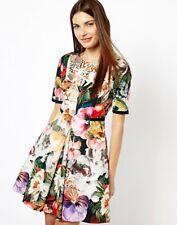 TED BAKER Tangled Floral print fit & flare full skirt skater dress wedding 0 6