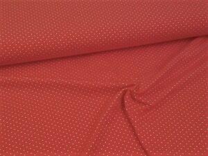 Jerseystoff / Baumwolljersey - Weiße Punkte auf Rot - ab 25cm (10,80€/m)