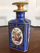Antique Continental Porcelain Scent Bottle, Painted With Flowers, c.1880. 17cm.
