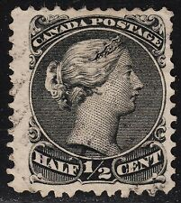 Canada 1/2c Large Queen, Scott 21, VF used. catalogue - $100 !!!