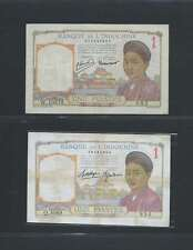 INDOCHINE  Lot de 2 billets  d'une PIASTRE LOT N° 1