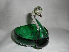 Murano green glass swan