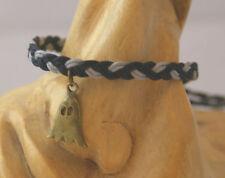 Handmade light grey & black braided bracelet with ghost shaped charm. Goth Rock