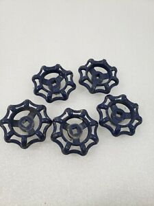 5 Vintage Water Faucet Valve Knob Handles Blue Steampunk Arts Crafts, 2 in.
