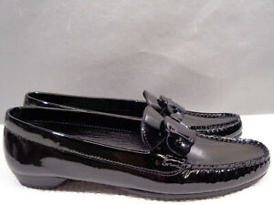 WOMENS NEW 7.5 SALVATORE FERRAGAMO ITALY BLACK LEATHER DRIVING FLAT LOAFER SHOES