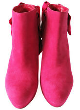 Stunning Alexander McQueen Pink Suede & Grosgrain Bow Ankle Platform Boots 39