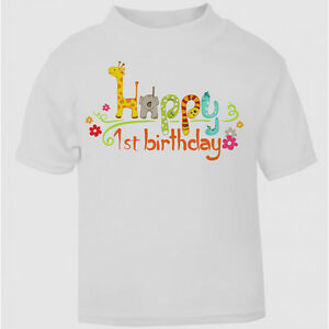 Cute Baby And Toddler T-shirt Boys Girls Top Happy 1st 2nd Birthday First 1 Gift