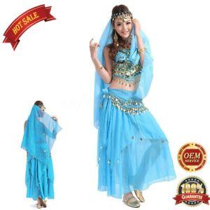 New Belly Dance Frill Skirt Bollywood Dancer Sequin Skirt Top Bra Belt Halloween