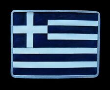 BOUCLE DE CEINTURE GREEK GREECE BLUE WHITE BELT BUCKLE FLAG