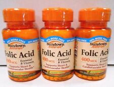 Sundown Naturals Folic Acid 400mcg 350ct- 3 pack- Exp. Date 08-2019