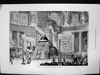 Original Old Antique Print Funeral King Victor Emmanuel Pantheon Rome 1878 19th