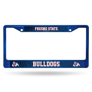 Fresno State Bulldogs Blue Painted Chrome Metal License Plate Frame