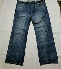DoDenim Men's Jean's Size 38x32 Straight Leg Distressed Med Wash Zip Fly