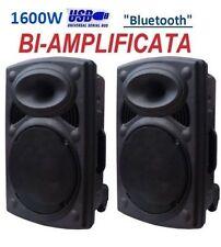 "COPPIA CASSE AMPLIFICATE ATTIVE 1600W 10"" USB SD MP3 BLUETOOTH IN ABS Nuove!"