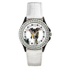 Brazilian Brasileiro Terrier Dog Ladies Cubic Zirconia Leather Watch Sgp170