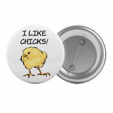 "I Like Chicks - Badge Button Pin 1.25"" 32mm Gay Lesbian Bisexual Bi Pride LGBT"