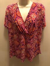 CHAPS Size 1X Purple Pink Paisley Surplice Neck Stretch Knit Top