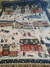 "Winter Tapestry  Blanket Winter Town Scene 52""x43"""