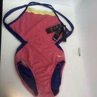 NWT Speedo Endurance Lite Train II Tech Women's Swimsuit Pink Blue Size 10/36