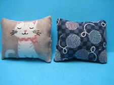 "Dollhouse Miniature Toss Pillows Featuring White Cat's 1 1/2"" x 1 1/2"""