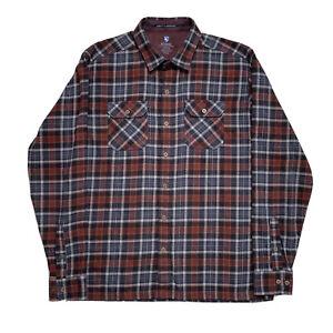 "Mint! Large KUHL "" Dillingr Shirt "" Brown Plaid Flannel Button Up"
