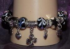 New 925 Sterling Silver Filled Black Enamel and Crystal Fashion Charm Bracelet