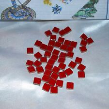 """4 oz ~ Red ~ 3/8"""" Small Glossy Ceramic Mosaic Tiles + Mosaic Instructions"""