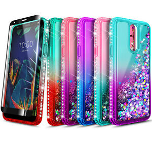 For LG Stylo 4 / Stylo 4 Plus Case, Liquid Glitter Phone Cover + Tempered Glass