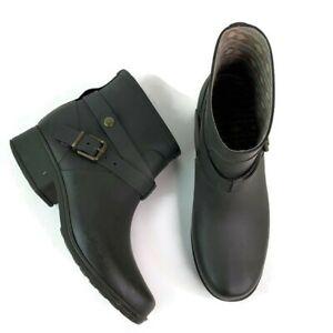 Lucky Brand Womens Rindah Olive Green Side Buckle Slip On Ankle Rain Boots 9M
