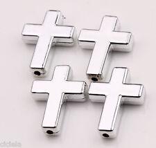 Wholesale 10Pcs Silver Plated Beads Acrylic Cross Beads Jewelry Making 24x18x5mm