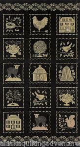 "FABRIC Moda ~ STURBRIDGE ~ Kathy Schmitz (6070 11) Black  PANEL 24""x45"""