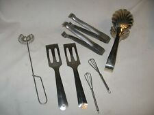 8 vintage stainless steel kitchen utensils tongs whisks spatulas