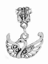 Swan Filigree Wing Bird Wedding Bride Gift Dangle Charm for European Bracelets