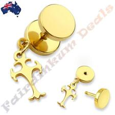 316L Surgical Steel Gold Ion Plated Fake Ear Plug With Celtic Cross Dangle