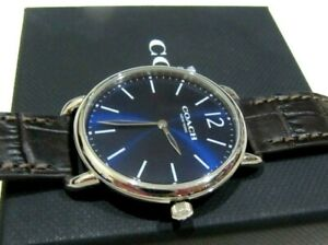 Coach Men's Delancey Brown Leather Silver Tone Blue Dial Slim Watch 14602142 NWT