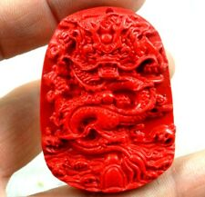 China Red Organic Cinnabar carve Dragon pendant necklace Making jewelry D48