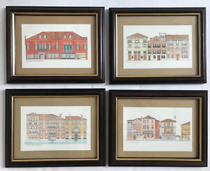 Venice Italy Hand Coloured Prints Of Buildings Framed Architecture Design Art