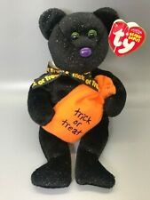 "New Ty Beanie Babies Baby Trickster Halloween Treat Bag Teddy Bear 8"" Plush Gift"