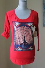NEW LUCKY BRAND WOM L MATCHBOX Peacock SHIRT TEE BLOUSE 3/4 SL RED TUNIC GRAPHI