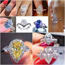 Fashion Pear Cut Cubic Zircon 925 Silver Rings Women Wedding Jewelry Size 6-10