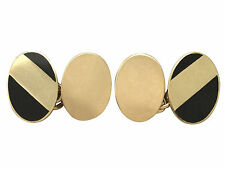 18 ct Yellow Gold and Black Enamel Cufflinks - Vintage 1984