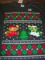 Nintendo SUPER MARIO BROS. CHRISTMAS SWEATER STYLE T-Shirt LARGE NEW Luigi Mario