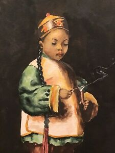 1930s ORIG CHINESE BOY LIGHTING FIREWORKS WATERCOLOR PAINTING~LIKE ESTHER HUNT