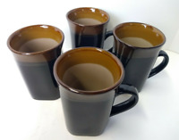 Stoneware Coffee Mug Set of 4 Tall Cup Black Brown Royal Norfolk