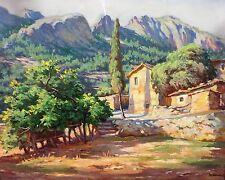 COUNTRY HOUSE OF  LA GARROTXA. OIL ON CANVAS. DIONISIO NADAL. SPAIN. CIRCA 1950