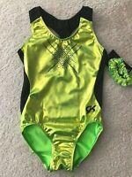 NWT GK Elite Lime Green Foil Black Racer Back Gymnastics Leotard Adult Small AS