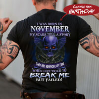 I Was Born In Month ...My Scars Tell Me A Story Skull Gift Birthday Gift T-Shirt