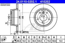 2x Bremsscheibe für Bremsanlage Hinterachse ATE 24.0110-0202.1