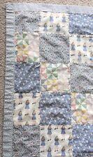 Handmade Pieced No-Batting Tied Coverlet Throw Crib Quilt Girl Print 52x37 Blue